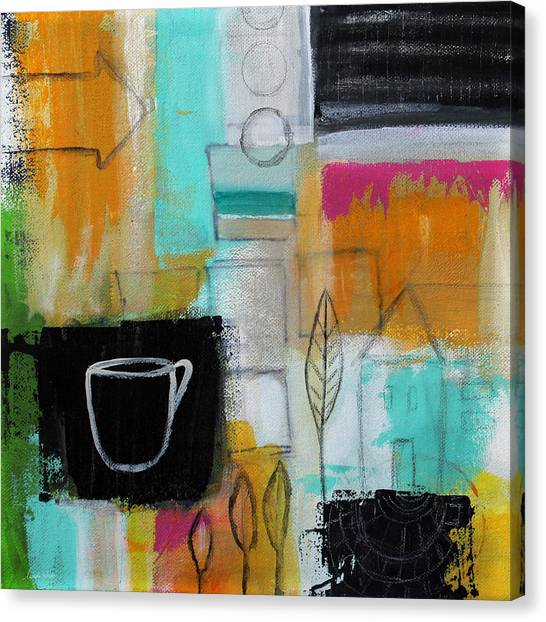 Tea Leaves Canvas Print - Rituals- Contemporary Abstract Painting by Linda Woods