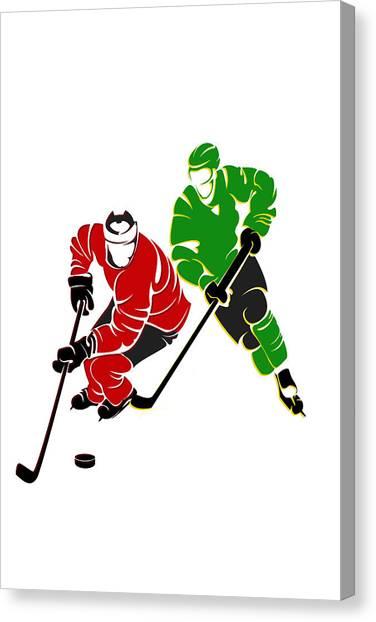 Chicago Blackhawks Canvas Print - Rivalries Blackhawks And North Stars by Joe Hamilton