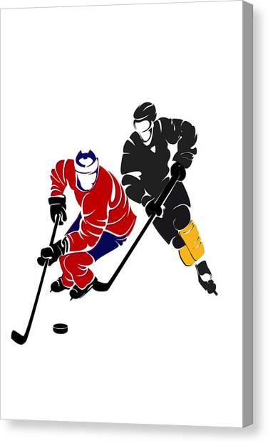 Montreal Canadiens Canvas Print - Rivalries Canadiens And Bruins by Joe Hamilton
