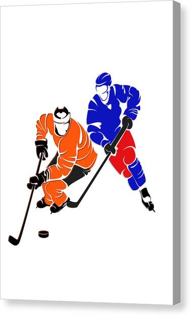 New York Rangers Canvas Print - Rivalries Flyers And Rangers by Joe Hamilton