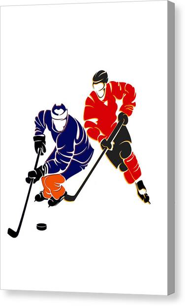 Edmonton Oilers Canvas Print - Rivalries Oilers And Flames by Joe Hamilton