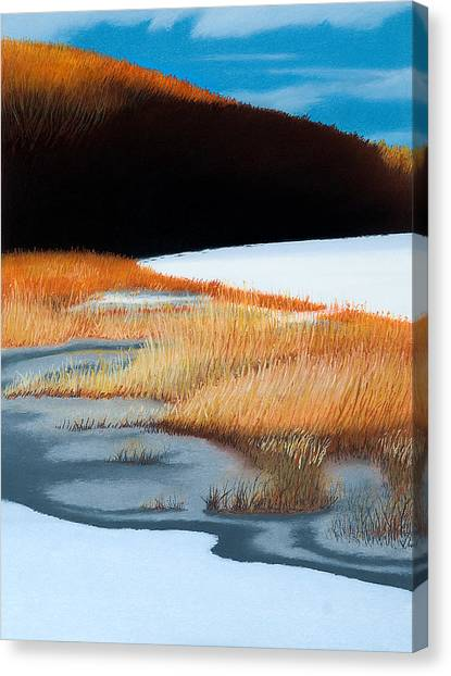 River And Reeds Canvas Print by Bruce Richardson