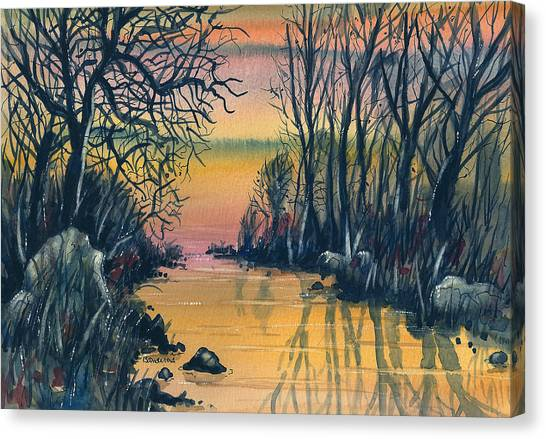 River At Sunset Canvas Print