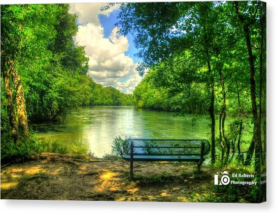 River Bench Canvas Print