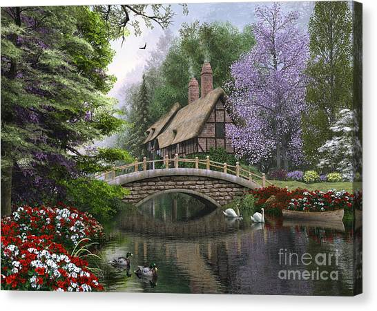 Victorian Garden Canvas Print - River Cottage by MGL Meiklejohn Graphics Licensing