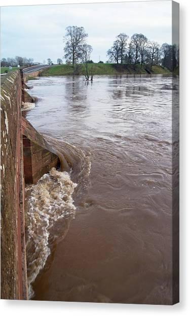 Flooding Canvas Print - River Eden Flooding. by Mark Williamson