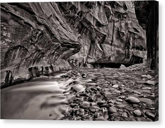 River Flow Bw Canvas Print by Juan Carlos Diaz Parra