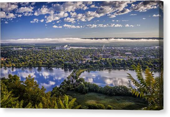 Mississippi State University Canvas Print - River Fog At Winona by Al  Mueller