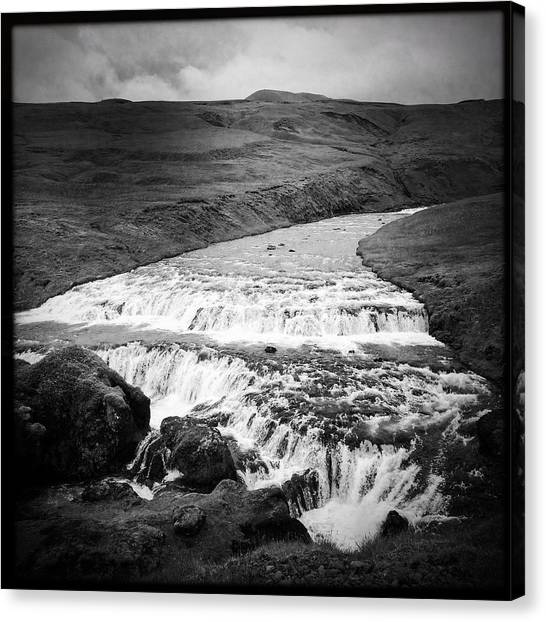 Landscape Canvas Print - River In Iceland Black And White by Matthias Hauser