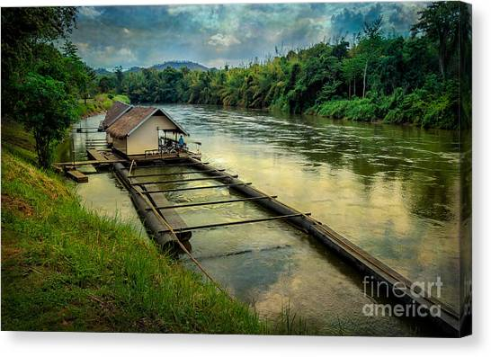 Pontoon Canvas Print - River Kwai Kanchanaburi  by Adrian Evans