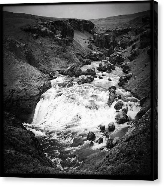 Drinks Canvas Print - River Landscape Iceland Black And White by Matthias Hauser
