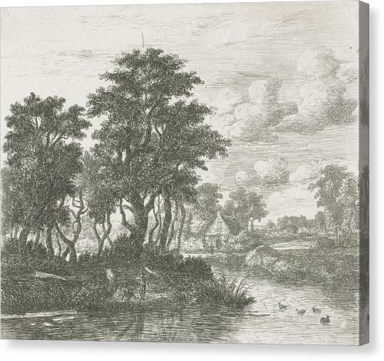 River Landscape With An Angler, Hermanus Jan Hendrik Van Canvas Print by Hermanus Jan Hendrik Van Rijkelijkhuysen And Meindert Hobbema