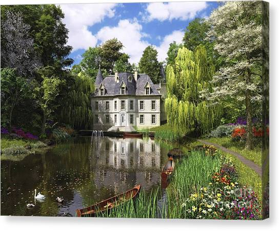 Victorian Garden Canvas Print - River Mansion by MGL Meiklejohn Graphics Licensing
