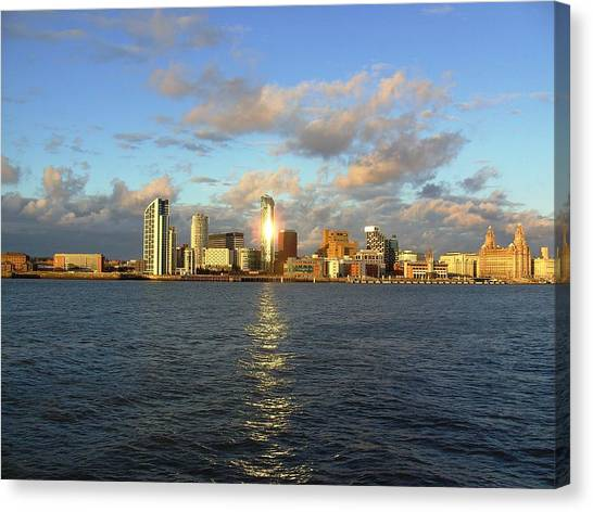 River Mersey And Liverpool Waterfront Canvas Print