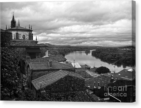 River Mino And Portugal From Tui Bw Canvas Print