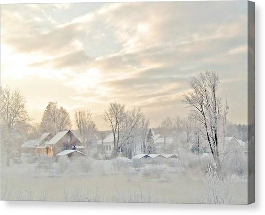 River Mist On A Very Cold New Hampshire Morning Canvas Print
