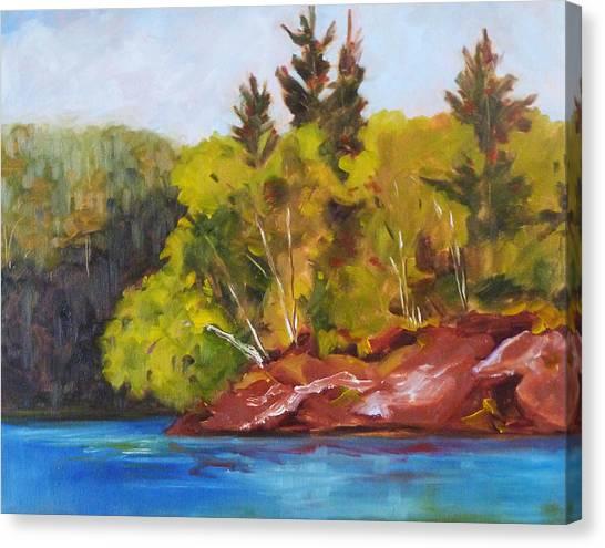 Fishing Poles Canvas Print - River Point by Nancy Merkle