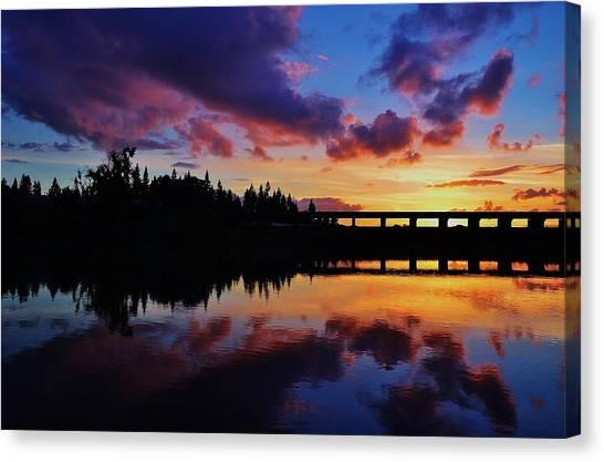 River Reflection Sunset Canvas Print