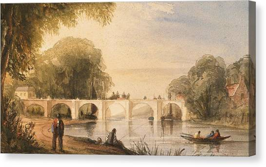 Pencil On Canvas Print - River Scene With Bridge Of Six Arches by Robert Hindmarsh Grundy
