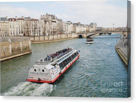 River Seine Excursion Boats Canvas Print