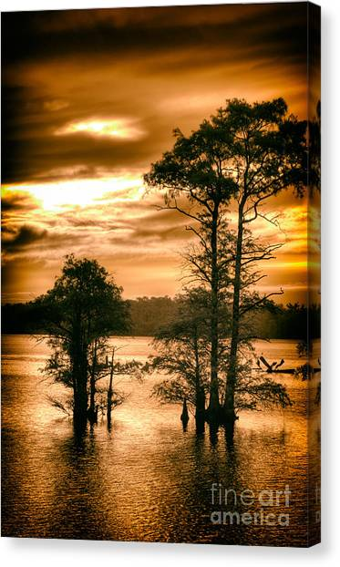 City Sunrises Canvas Print - River Sunrise On The North Carolina Coast by Dan Carmichael