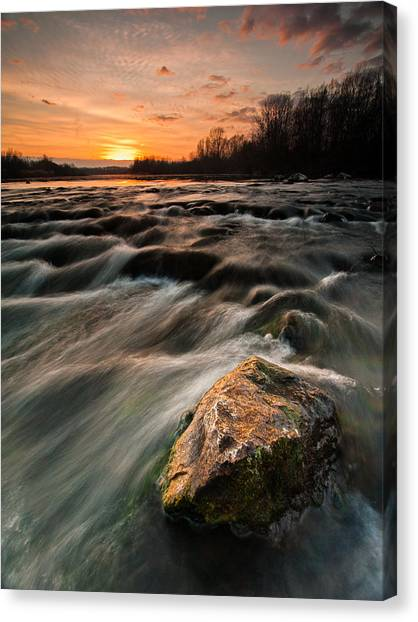 Cloud Forests Canvas Print - River Sunset by Davorin Mance