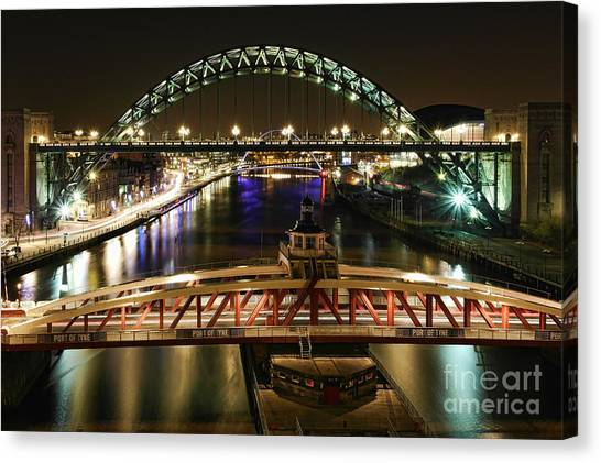 River Tyne At Night Canvas Print