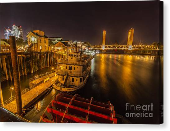 Sacramento Kings Canvas Print - River View by Charles Garcia