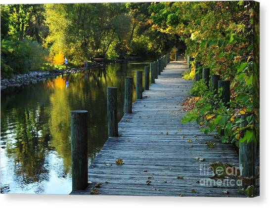 River Walk In Traverse City Michigan Canvas Print
