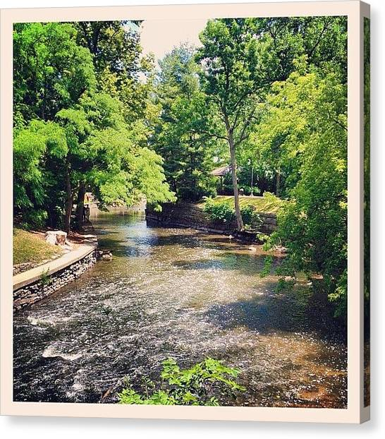 University Of Illinois Canvas Print - River Walk by Mike Maher