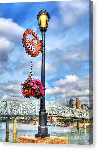 Canvas Print featuring the photograph Riverboat Lamp by Mel Steinhauer