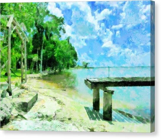 Canopy Canvas Print - Riverfront At Edison Estate by Florene Welebny