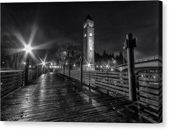 Seattle Seahawks Canvas Print - Riverfront Park Clocktower Seahawks Black And White by Mark Kiver