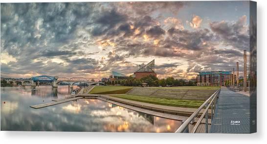 Riverfront Pier Sunrise  Canvas Print