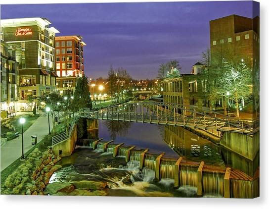 Riverplace And Art Crossing At Sunset In Downtown Greenville Sc Canvas Print