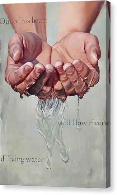 Bible Verses Canvas Print - Rivers Of Living Water  by Hannah  Harris