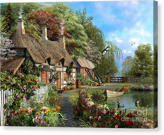 Victorian Garden Canvas Print - Riverside Home In Bloom by MGL Meiklejohn Graphics Licensing