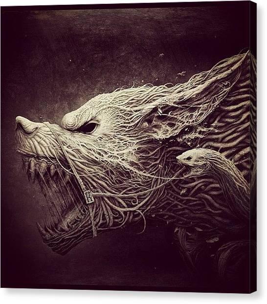 Wolves Canvas Print - #roachhaus #photoart #darkart #dark by Katie Ball