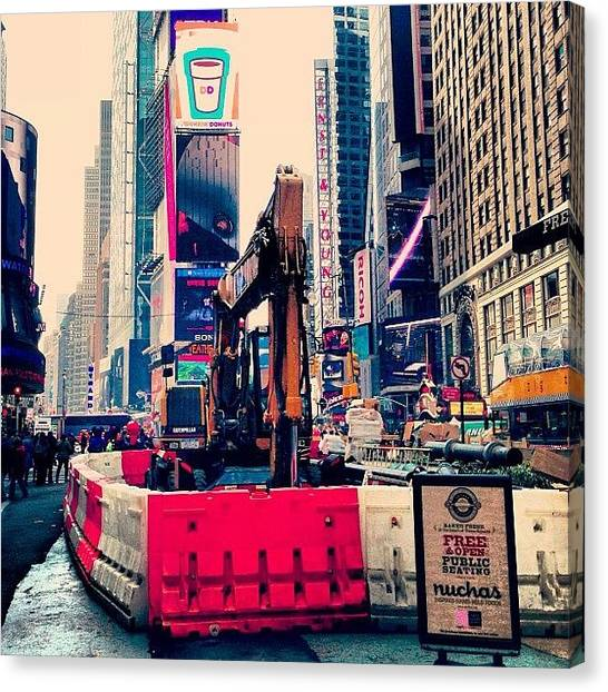 Equipment Canvas Print - Road Construction In Time Squire New York City by Boris Mordukhayev