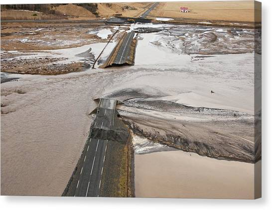 Eyjafjallajokull Canvas Print - Road Destroyed By Volcanic Flooding by John Beatty/science Photo Library
