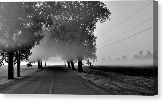 Road Into Morning Mist - Canada Canvas Print
