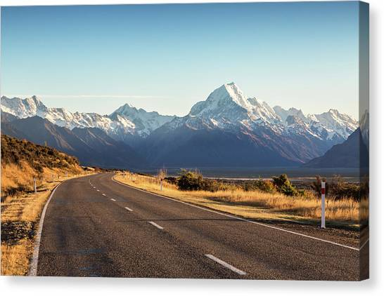 Road Leading To Mt Cook Mountain, New Canvas Print by Matteo Colombo