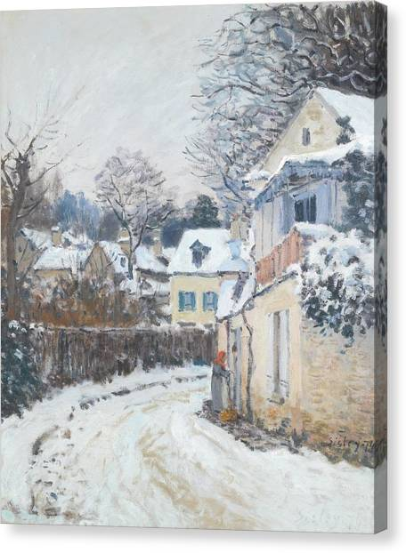 Canvas Print featuring the painting Road Louveciennes by Alfred Sisley