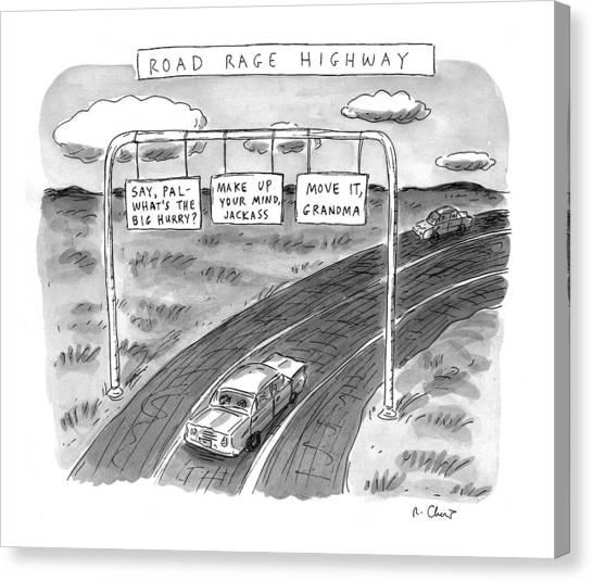 Grandma Canvas Print - 'road Rage Highway' by Roz Chast