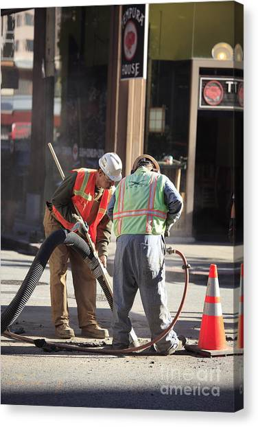 Jackhammers Canvas Print - Road Repair by Chris Selby