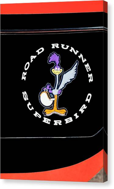 Roadrunner Canvas Print - Road Runner Superbird Emblem by Jill Reger