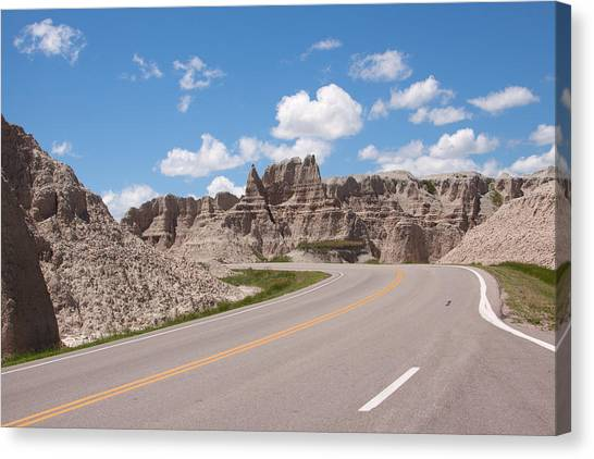 Road Through The Badlands Canvas Print