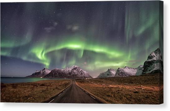 Aurora Borealis Canvas Print - Road To Boreal by Pablo Perdomo