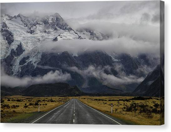 Driving Canvas Print - Road To Mt Cook by Dragan Keca
