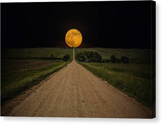 Moon Canvas Print - Road To Nowhere - Supermoon by Aaron J Groen